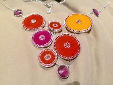 Swarovski Swan signed Noon Orange/purple crystal necklace 1084554