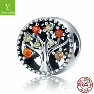 Christmas 925 Sterling Solid Tree of Life Pave CZ Charm Beads Fit Original Chain