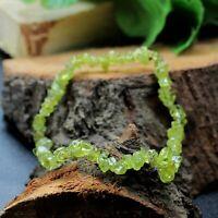 Natural Green Peridot Drilled Rough Beads Chips Gemstone Adjustable Bracelet
