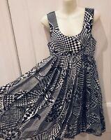 """Gianni Versace """"Versus""""Dress Black and White Abstract Optical Vintage Rare 1990s"""