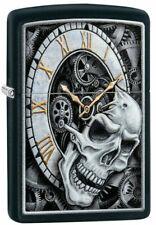 "Zippo Lighter ""Skull & Clock Design "" No 29854 - New on black matte finish"