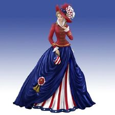 O Say Can You See American United States Flag Lady Thomas Kinkade Figurine
