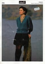 "~ Emu Knitting Pattern For Lady's Lovely Lacy V-Neck Cardigan ~ 38"" ~ 50"" Bust ~"