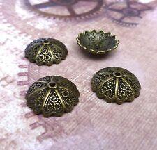 Pack of 40 - Antique Bronze Large Filigree Bead Caps