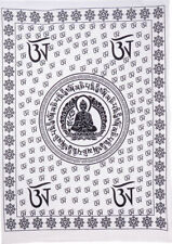 White Color Lord Buddha Small Tapestry Poster beautiful Design Cotton Hippie Art