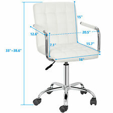 White Desk Chairs With Wheels Executive With Padded Armrests Home 360 Swivel