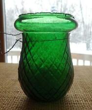 Victorian Christmas Oil Light Candle Fairy Green Glass Diamond Quilted