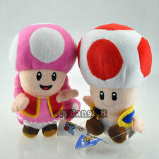 """Lot 2 Super Mario Bros 6-6.5"""" TOADETTE RED TOAD CUTE Soft Plush Doll Toy/MW2249"""