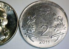 2011 Off Center ERROR India 2 Cent Piece Two Rupee O/C US QUARTER SIZE Coin  NR