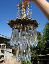 1 lamp waterfall Hanging Swag Brass Spelter Chandelier crystal prism grapes