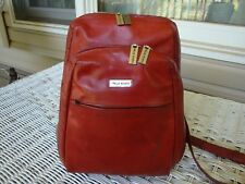 WILSONS Pelle Red Leather Small Backpack Organizer Distressed Sling Handbag Hobo