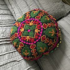Hand Embroidered  green Round Pillow cover. Bohemian Hippie Pillow Cover.