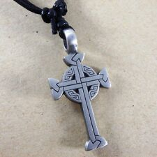 Irish Celtic crucifix Cross Silver Pewter Pendant With Cotton Necklace #191