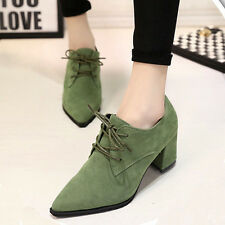 Retro Women Girl Lace Up Mid Chunky Heels Shoes Brogue Leather Oxford OL College