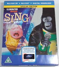 SING 3D Brand New 3D + 2D BLU-RAY STEELBOOK 2016 Illumination Animated Movie