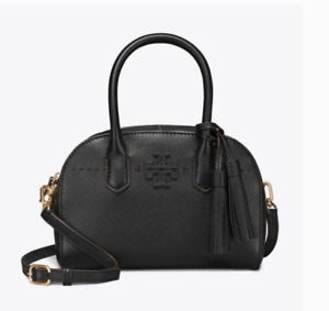 Tory Burch NEW McGraw Small Black Pebbled Leather Zip Strap Satchel $448