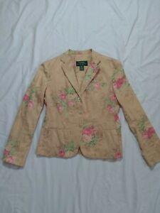 Ralph Lauren Blazer Women's Blazer Roses Pink Floral Beige Soft Cotton Size 6P.