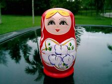 "Set of 5 Russian Nesting Dolls Red Designs 4.75"" Colorful and Cute"