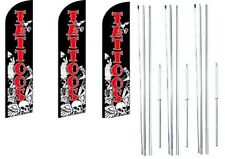 Tattoos Windless Flag With  Hybrid Pole set 3 pack