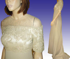 Vntg $2000 BADGLEY MISCHKA Wedding Gown B38 UNWORN Orig Tags Beige Prom Formal