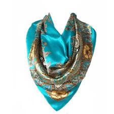 Carré Foulard 100% Soie Floral Motif Cachemire Bleu Silk séide scarf shawl blue