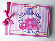 PERSONALISED LADYBUG GIRL /FIRST/1ST BIRTHDAY GUEST BOOK -  ANY DESIGN