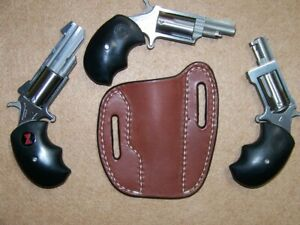 Leather Two Slot Pancake Gun Holster OWB Fits (3) North American Arms Revolvers