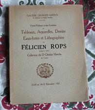 1921 Félicien Rops Catalogue Vente Galerie Giroux Belgique Collection Dr Mascha