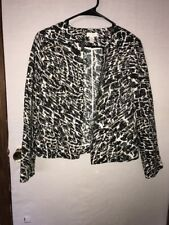 ~NICE~Chico's Light Weight Open Front Blazer Animal Print Size 0