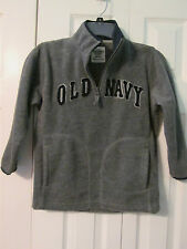 Embroidered Old Navy Boys Gray Fleece 1/2 Zipper Top 2 Pockets, Size Small
