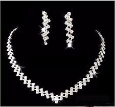 NEW Diamante Elegant necklace Earring set Bride Prom Party Wedding Jewellery UK