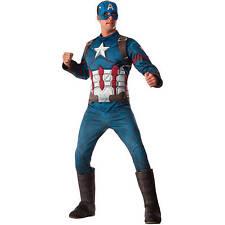 Captain America Adult Men's Deluxe Avengers Superhero Dress Party Costume Small