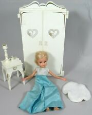 Vtg Pedigree Sindy Doll Furniture Lot Armoire Bedside Table Rug Wardrobe Gown