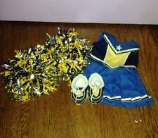 American Girl Dolls Cheer Leading Cheerleading Outfit 3 Blue Gold Pom Poms