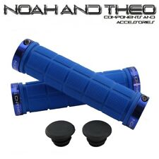 Noah And Theo Double Lock On Mountain Bike Bicycle Handlebar Grips BLUE BLUE
