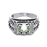 Green Stone Lucky Signet Men's Horseshoe Ring Retro Classic Good Luck Men's Ring