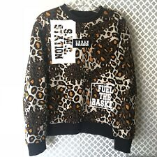 URBAN SWAGGER Mens Sz Small Leopard Pullover Sweatshirt KPOP Town Jacket Casual