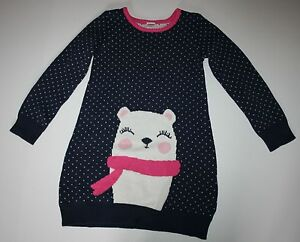 New Gymboree Girls 4T 4 Year Polar Bear Winter Heavy Sweater Dress Long Sleeves