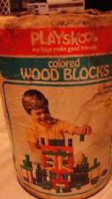 1976 PLAYSKOOL COLORED WOODEN BUILDING BLOCKS