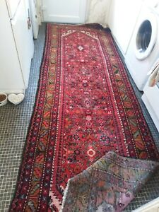 Large long old  vintage Persiian Turkish  Afghan wool Rug Carpet 300x103cm