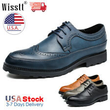 Men Oxfords Brogues Leather Formal Casual Dress Lace up Wing Tip Wedding Shoes L