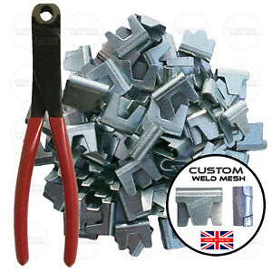 Gabion Baskets Clips & Pliers Galvanised Wire Mesh Clips Fencing Cages *UK *
