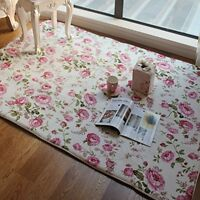Romantic Country Style Floral Floor Mats Sweet Rose Print Carpets For Modern Rug