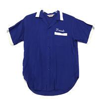 Pin Splitter Vintage Bowling Shirt Mens Size L Large Blue Short Sleeve FRANK
