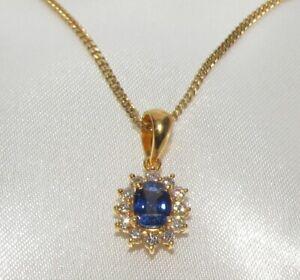 BEAUTIFUL SECONDHAND 20ct YELLOW GOLD &SAPPHIRE & DIAMOND PENDANT ON CHAIN 55cm