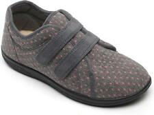 Padders DUO Ladies Womens Textile Extra Wide Fitting (2E/3E) Comfy Slippers Grey