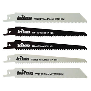 Reciprocating Saw Blade Set 5 Blades For Wood Plastics and Metal cuts by Triton