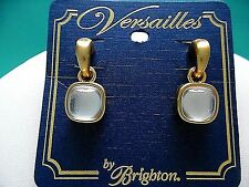 """NWT BRIGHTON VERSAILLES """"AMALIA"""" SILVER GLASS CAB BRUSHED GOLD-TONE EARRINGS"""