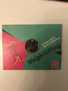 Weightlifting Olympic 50p - BNUC, Coin In Card Presentation