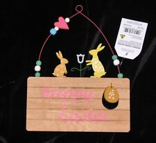 EASTER PLAQUE / SIGN WOOD WITH METAL HANGER BUNNY, EGGS, ETC DECOR  HAPPY EASTER
